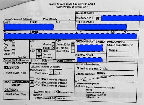 Rabies certificate